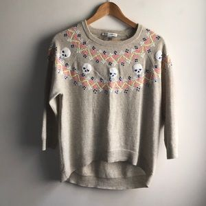 Autumn Cashmere Ash Quotation sequin skull sweater